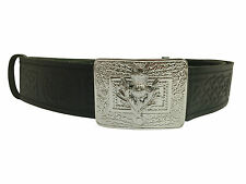 NEW Scottish Celtic Thistle Hide Embossed Leather Kilt Belt and Buckle SMALL-XL