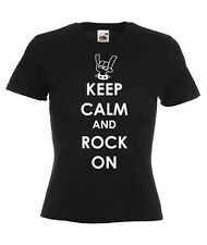 KEEP CALM AND ROCK ON  LADIES SKINNY FIT T-SHIRTS