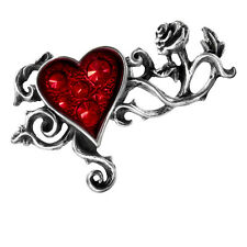 Alchemy Gothic Bed Of Blood Roses Heart Red Rose Crystal Enamel Pewter Ring