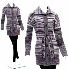 LADIES LONG KNIT CARDIGAN SIZE 8-14 CHUNKY JUMPER SWEATER DRESS TOP BUTTON FRONT