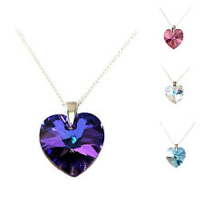 925 SILVER NECKLACE MADE WITH GENUINE SWAROVSKI CRYSTAL XILION HEART PENDANT