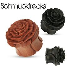 Rose Flesh Tunnel Holz Ohr Ear Plug Piercing Rosen Horn Bone Wood Organic 8-14mm