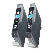 2 Canon CLI-8PC Light Cyan Printer Ink Cartridges