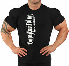 BODYBUILDING T-SHIRT WORKOUT  GYM CLOTHING  BLACK J-103