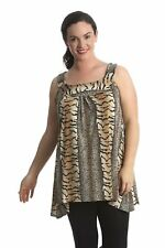 New Womens Lace Feather Sequin Sleeveless Tunic Long Top Nouvelle Plus Size