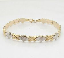 Diamond Cut Hearts & Kisses Bracelet Genuine REAL 10K Yellow White TwoTone Gold