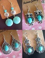 EARRINGS TURQUOISE CHANDELIER DANGLE DROP BLUE STONE TRIBAL HIPPIE VINTAGE RETRO