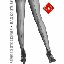 Clio 654 Bas stretch seamed stockings in blck or red, sizes small to x-large
