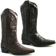 MENS GRINGOS COWBOY LEATHER CALF BOOTS SIZE UK 6 - 12 BLACK OR BROWN M699 KD