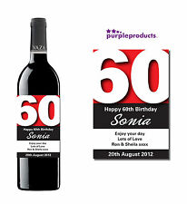 PERSONALISED 60th BIRTHDAY WINE, CHAMPAGNE or BEER/CIDER BOTTLE LABEL