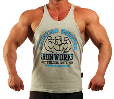 GREY TEAM IRONWORKS T-BACK BODYBUILDING VEST WORKOUT GYM CLOTHING H-78