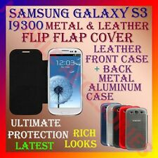 ACM-SAMSUNG GALAXY S3 I9300 PREMIUM LEATHER & METAL ALUMINUM FLIP COVER CASE