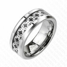 "Herren Damen Ring Tungsten silber ""Flower Carbon Inlay"" --  SCHMUCK von COOLBODY"