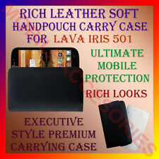 ACM-RICH LEATHER SOFT CARRY CASE LAVA IRIS 501 MOBILE HANDPOUCH COVER PROTECTION