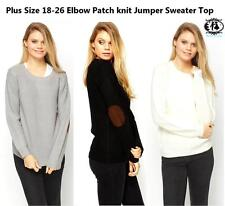 LADIES PLUS SIZE18-26 ELBOW PATCH KNITTED CARDIGAN JUMPER SWEATER TOP RETRO VTG