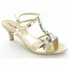 Womens Ladies Anne Michelle Open Toe Diamante Low Heel Gold Evening Party Shoes