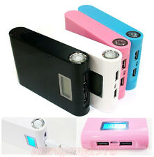 12000mAh Power Bank External Backup Battery Charger with Torch Light+LCD Screen