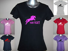 New LADIES / GIRLS PERSONALISED SHOW JUMPING PONY / HORSE T-SHIRT 8 to 16