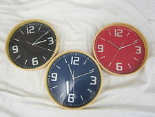 LESSER AND PAVEY ROUND WOOD EFFECT WALL CLOCK (3 COLOURS) 32CM