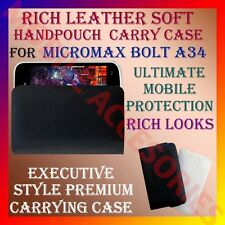 ACM-RICH LEATHER SOFT CARRY CASE MICROMAX BOLT A34 MOBILE HANDPOUCH COVER LATEST