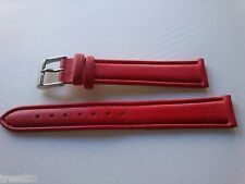 CORREA RELOJ 14,16 MM PIEL ROJA HEBILLA ACERO WATCH LEATHER NEW STRAP BAND