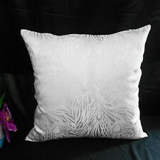 "Cushion Cover Chinese Brocade ""White"" Gorgeous Peacock Feather Motif cbs-112"