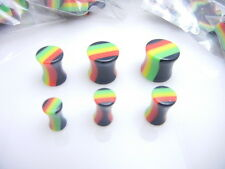 1x Rasta Ear Plug,Solid Acrylic,4mm-12mm,Brand New,Same Day Dispatch