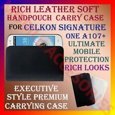 ACM-RICH LEATHER SOFT CARRY CASE CELKON SIGNATURE ONE A107+ MOBILE COVER POUCH