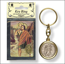 Gold & Silver Coloured Metal Key Ring Saint Christopher Anthony Pio Miraculous