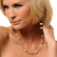 Technibond Genuine Pearl Necklace Chain 14K Yellow Gold Clad Silver ALL SIZES