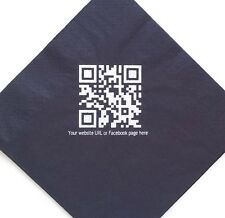 QR code on 100 Promotional Personalised Printed Paper Napkins Your Logo/Photo