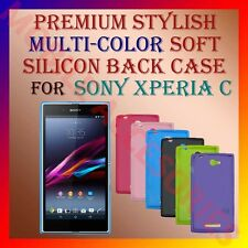 ACM-PREMIUM MULTI-COLOR SOFT SILICON BACK CASE for SONY XPERIA C MOBILE COVER