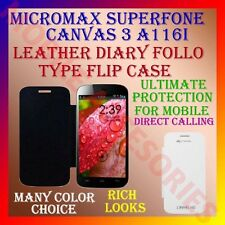 ACM-LEATHER DIARY FOLIO FLIP CASE for MICROMAX SUPERFONE CANVAS 3 A116I COVER