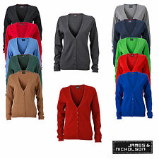 James & Nicholson Ladies V-Neck Cardigan Damen Strickjacke JN660 12 Farben
