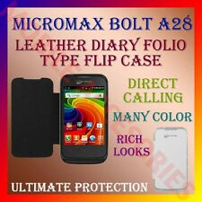 ACM-LEATHER DIARY FOLIO FLIP CASE for MICROMAX BOLT A28 MOBILE FRONT/BACK COVER