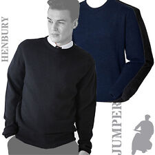 Henbury - H735 - Mens Crew Neck Lambswool Jumper Sweater Pullover (2 Cols)