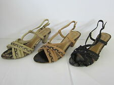 LADIES SPOT ON OPEN TOE SANDALS WITH SNAKE SKIN DETAIL (3 COLOURS) F10018 W