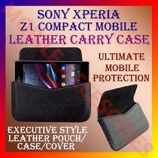 ACM-HORIZONTAL LEATHER CARRY CASE for SONY XPERIA Z1 COMPACT MOBILE POUCH COVER