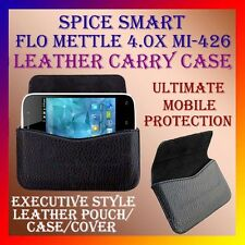 ACM-HORIZONTAL LEATHER CARRY CASE for SPICE SMART FLO METTLE 4.0X MI-426 COVER
