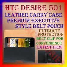 ACM-BELT CASE for HTC DESIRE 501 MOBILE LEATHER CARRY POUCH PREMIUM COVER CLIP