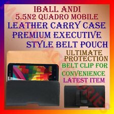 ACM-BELT CASE for IBALL ANDI 5.5N2 QUADRO MOBILE LEATHER CARRY POUCH COVER CLIP