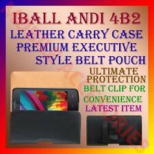 ACM-BELT CASE for IBALL ANDI 4B2 MOBILE LEATHER CARRY POUCH PREMIUM COVER CLIP