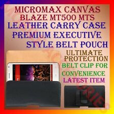 ACM-BELT CASE for MICROMAX CANVAS BLAZE MT500 MTS LEATHER CARRY POUCH COVER CLIP