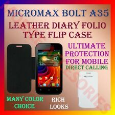 ACM-LEATHER DIARY FOLIO FLIP CASE for MICROMAX BOLT A35 MOBILE FRONT/BACK COVER
