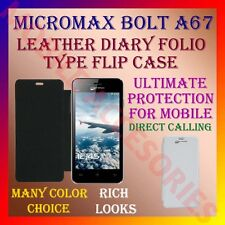 ACM-LEATHER DIARY FOLIO FLIP CASE for MICROMAX BOLT A67 MOBILE FRONT/BACK COVER