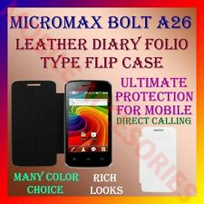 ACM-LEATHER DIARY FOLIO FLIP CASE for MICROMAX BOLT A26 MOBILE FRONT/BACK COVER