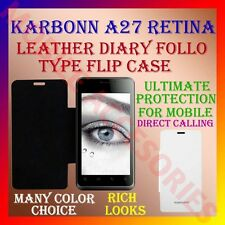 ACM-LEATHER DIARY FOLIO FLIP FLAP CASE for KARBONN A27 RETINA MOBILE FULL COVER