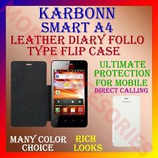 ACM-LEATHER DIARY FOLIO FLIP CASE for KARBONN SMART A4 MOBILE FRONT/BACK COVER