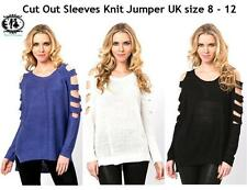 LADIES CUT OUT SLEEVES JUMPER M/L KNITTED TOP BLOUSE SEXY SWEATER DRESS RIPPED