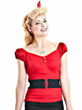 Collectif Dolores Gypsy Top Red Rockabilly 1950's Vintage Pin Up Retro New UK